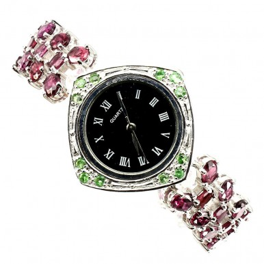 Natural Rhodolite Garnet & Tsavorite Garnet Sterling Silver Watch