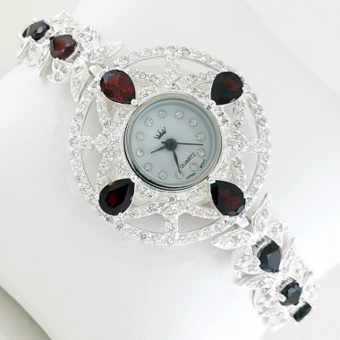 Magnificent Sterling Silver Wristwatch with Red Garnet & CZ Stones
