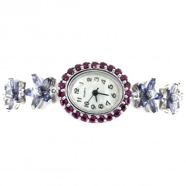 Flower Bracelet Links Natural Iolite Tanzanite & Rhodolite Garnet Watch