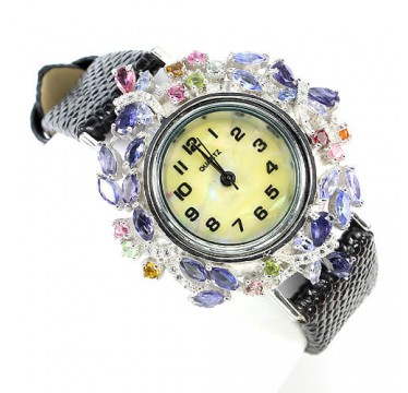 precious natural blue iolite & fancy tourmaline 925 silver leather ladies' wrist watch