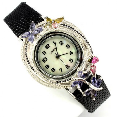 natural gems iolite, tourmaline & CZ 925 sterling silver & leather womens wrist watch