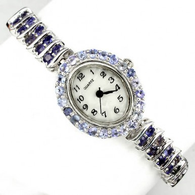 natural violet iolite & tanzanite mother of pearl sterling silver luxury womens wrist watch