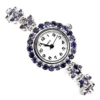 gorgeous rare natural blue iolite genuine 925 sterling silver ladies' jewellery wrist watch