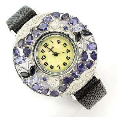 precious natural violet iolite & sapphire silver with leather band luxury womens watch