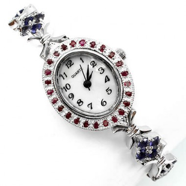 natural jewels blue iolite & red ruby 14k white goold 925 sterling silver wrist watch for women