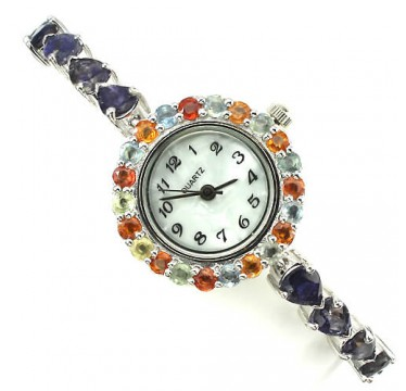 really authentic violet iolite & sapphire sterling silver and 14k gold womens luxury watch