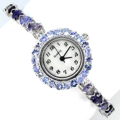 luxury natural rich blue iolite, violet tanzanite ladies' sterling silver wrist watch