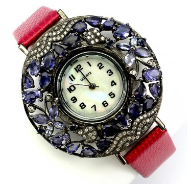 natural iolite, tanzanite, sapphire & CZ sterling silver with leather band luxury womens watch