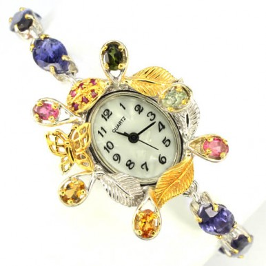 magnificent handmade jewellery sterling silver ladies' wrist watch with genuine blue iolite