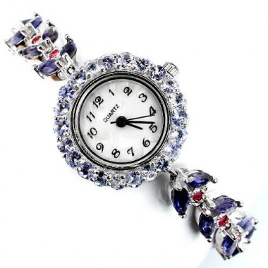 admirable genuine iolite, tanzanite & ruby 14k gold over sterling silver ladies' wrist watch