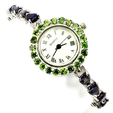 Solid Sterling Silver Wristwatch for Ladies with Natural Iolite & Chrome Diopside