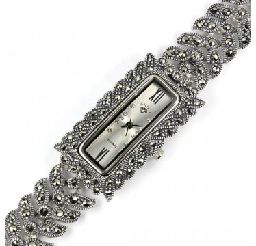 Delightful Sterling Silver Women's Wrist Watch with Natural Marcasite & CZ