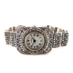 Marcasite Sterling Silver Women's Wristwatch with Rectangle Face