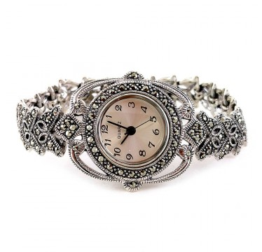 Butterfly Design Sterling Silver Ladies' Watch with Natural Marcasite