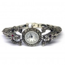 Dragon Heads Sterling Silver Watch for Ladies with Natural Marcasite