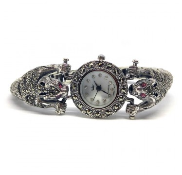 Tiger Heads Sterling Silver Women's Watch with Natural Marcasite