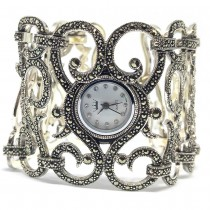 Exclusive Extremely Wide & Heavy 925 Silver Ladies' Marcasite Watch