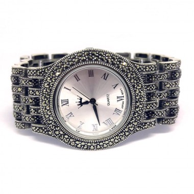 Huge Sterling Silver Men's Wrist Watch with Natural Marcasite