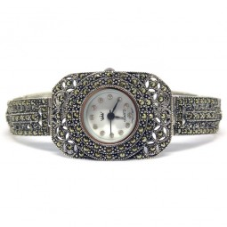 Cute Rectangle Sterling Silver Wrist Watch for Ladies with Marcasite