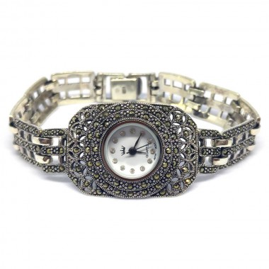 Charming Women's Sterling Silver Rectangle Wrist Watch with Marcasite