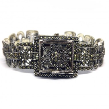 Champagne Marcasite 925 Silver Women's Watch with Hinged Cover