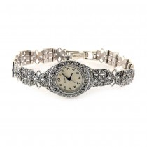 Natural Marcasite Stones Sterling Silver Wristwatch for Women