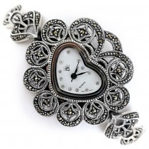 Heart Dial Shape Sterling Silver Marcasite Wristwatch for Ladies