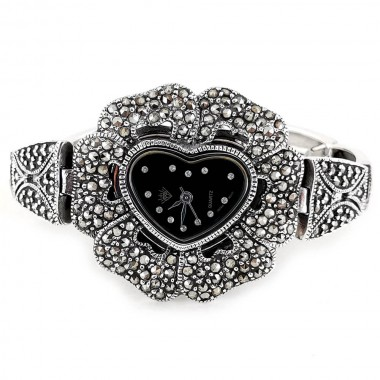 Heart Dial Flower Face Marcasite Sterling Silver Watch for Women