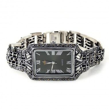 Big 925 Sterling Silver Unisex Rectangle Watch Natural Marcasite
