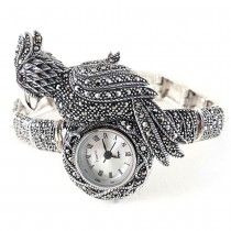 Parrot Bird Design Natural Marcasite 925 Sterling Silver Women's Watch