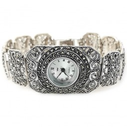 Rectangle Face Round Dial Natural Marcasite 925 Silver Ladies' Watch