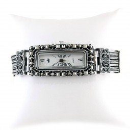 Rectangle Case Shape Sterling Silver Ladies' Watch with Marcasite