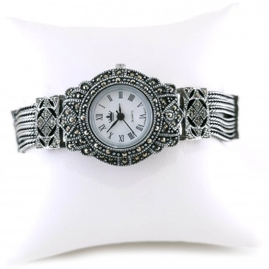 Chains Bracelet Solid Sterling Silver Watch for Women with Marcasite
