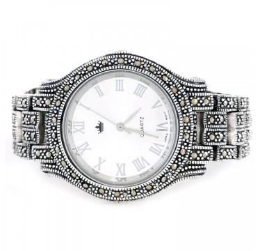Big 38 mm Solid Silver Unisex Watch with Natural Marcasite Stones