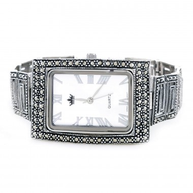 Rectangle Shape Jewelry Solid 95 Silver Watch with Marcasite