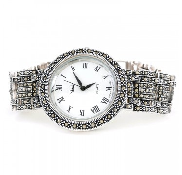 Pretty Big 36 mm Solid Silver Wrist Watch with Natural Marcasite