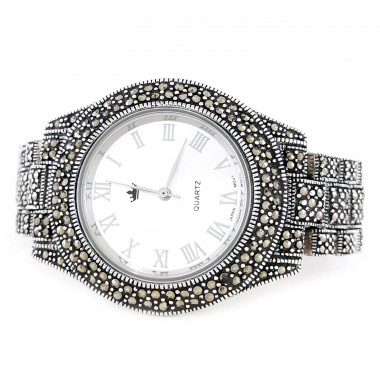 Big 40 mm Real 925 Silver Watch with Natural Marcasite Unisex