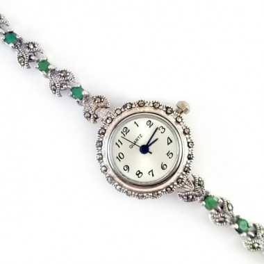 Vintage jewelry sterling silver watch for women with marcasite & emerald