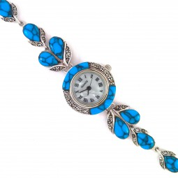 Jewellery Women's Wrist Watch with Natural Marcasite & Turquoise