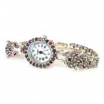 Natural Round Sapphire, Ruby, Emerald & Marcasite Tiger Wristwatch