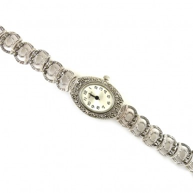 Gorgeous Natural Champagne Marcasite Sterling Silver Wristwatch