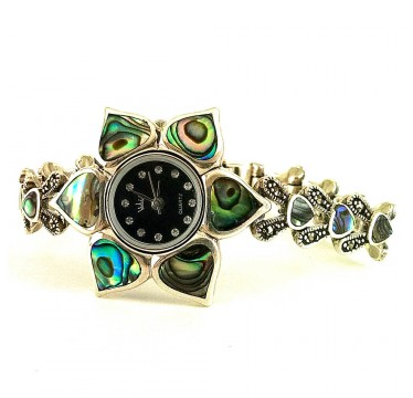 Luxury Silver Watch for Women Flower Design with Rainbow Mother of Pearl