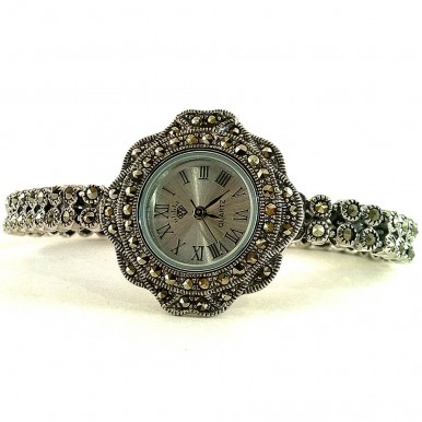 Cute Solid 925 Silver Women's Watch with Champagne Marcasite