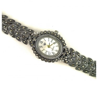 Charming Jewelry Sterling Silver Ladies' Wrist Watch with Marcasite