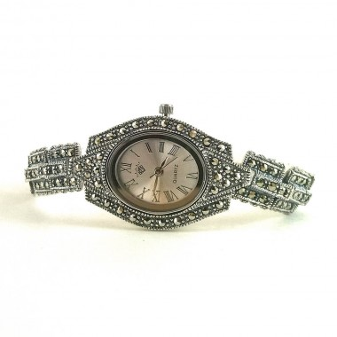 Graceful Solid Silver Women's Wrist Watch with Genuine Marcasite