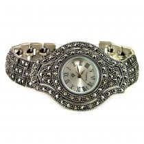 Marcasite Bracelet & Bezel Sterling Silver Wristwatch for Women