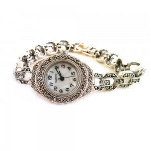 Chain Bracelet Links Sterling Silver Wristwatch for Ladies with Marcasite