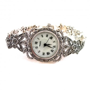 authentic jewels champagne marcasite 925 sterling silver wrist watch for lady