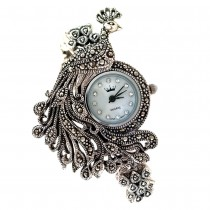Wonderful Peacock Design Sterling Silver Women's Watch with Marcasite