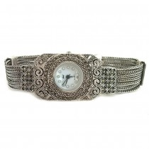 Chain Bracelet Sterling Silver Marcasite Watch for Women